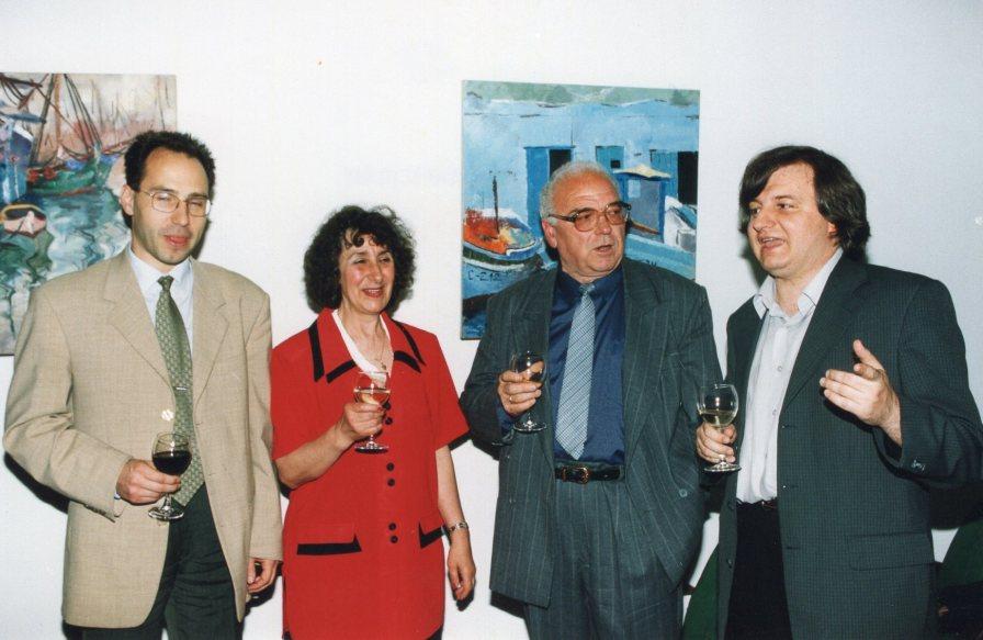 Отбелязване на празника на Студентския дом през 2002 г. На снимката - четирима от ръководителите на институцията - В. Тодоров, К. Георгиева, Б. Семерджиев, П. Дойнов